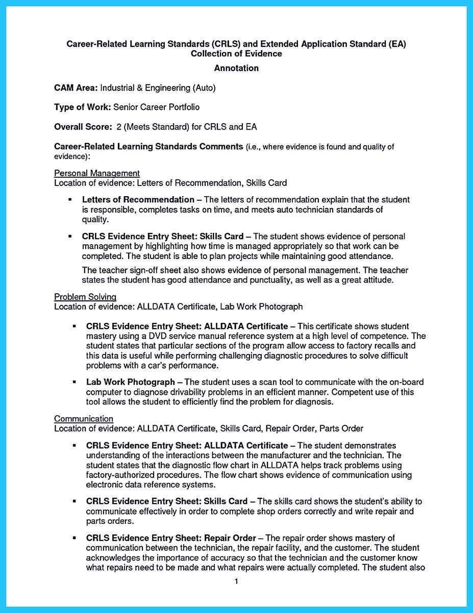 auto mechanic resume information