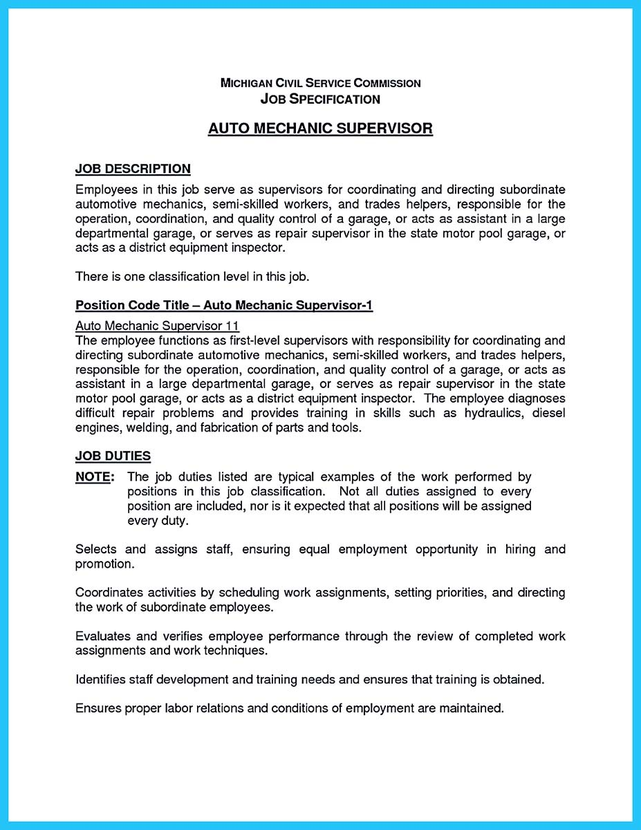 auto mechanic resume job description_001 - Auto Technician Job Description