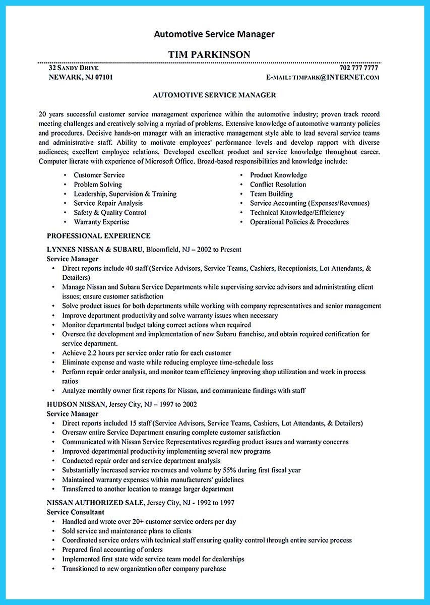 Resume Automotive Service Manager Resource Auto Mechanic Job Description