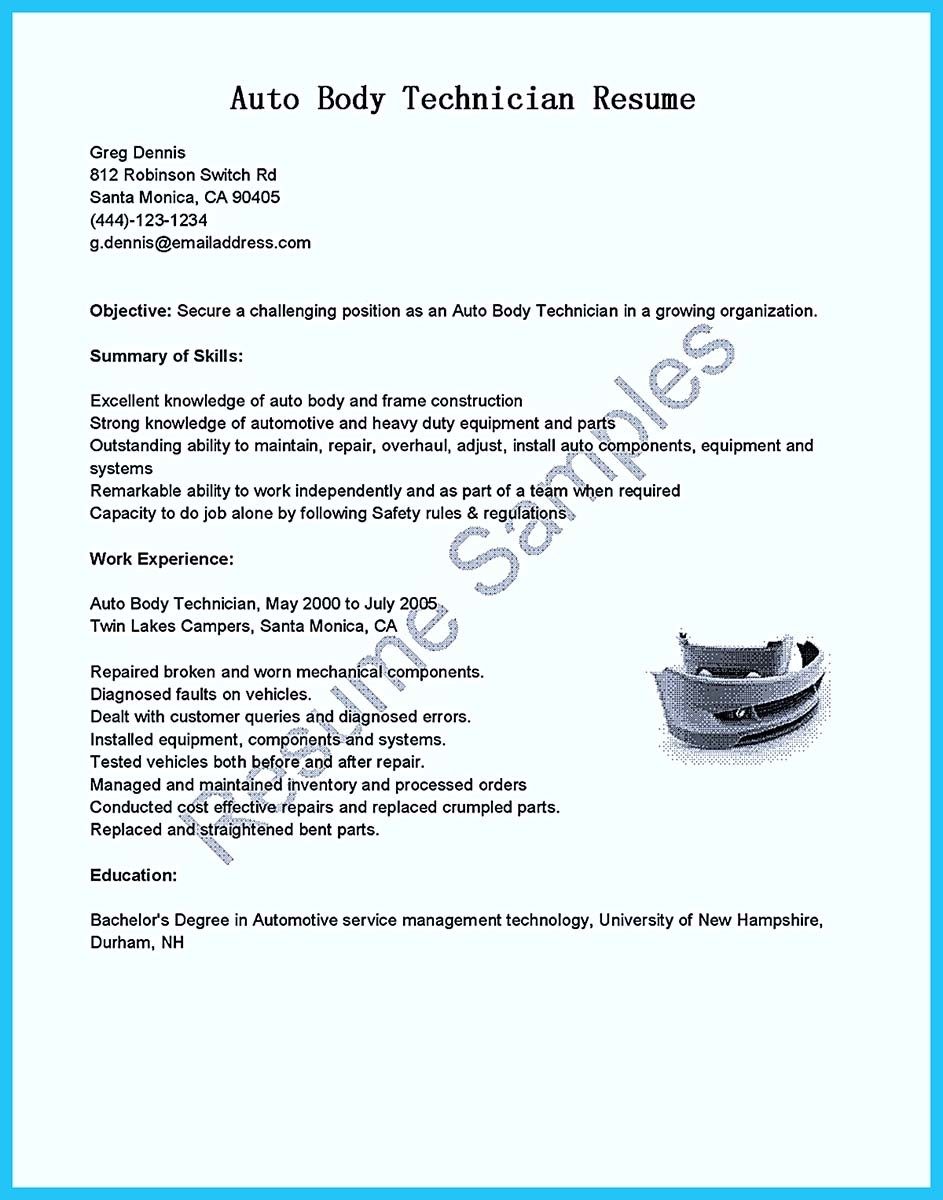 auto mechanic resume objective examples