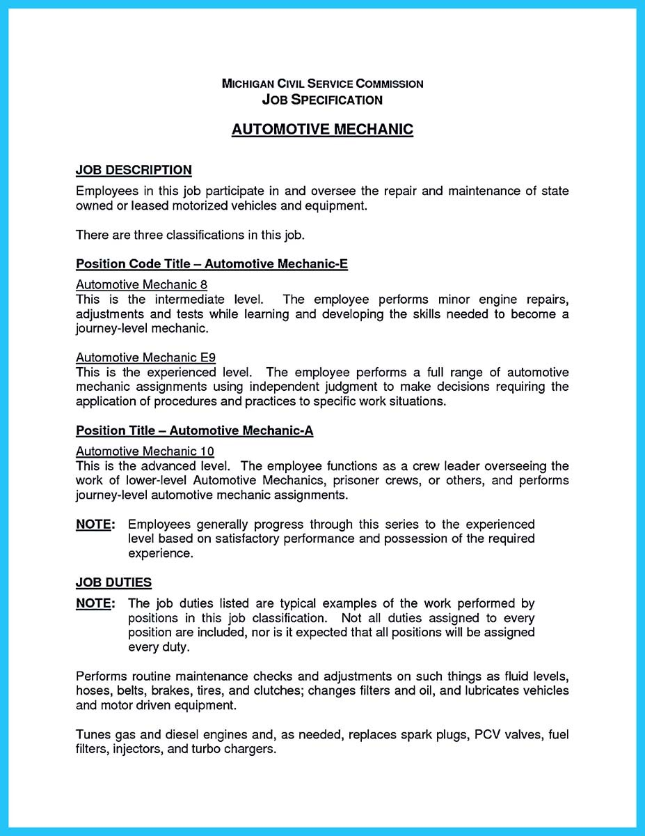 auto mechanic resume objective examples_001 - Resume For Auto Mechanic
