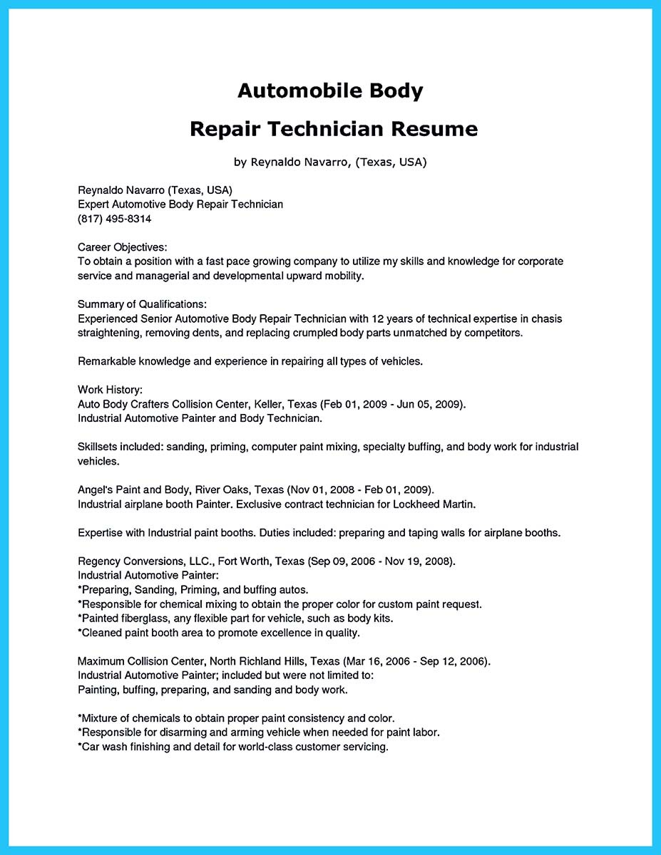 auto technician resume cover letter