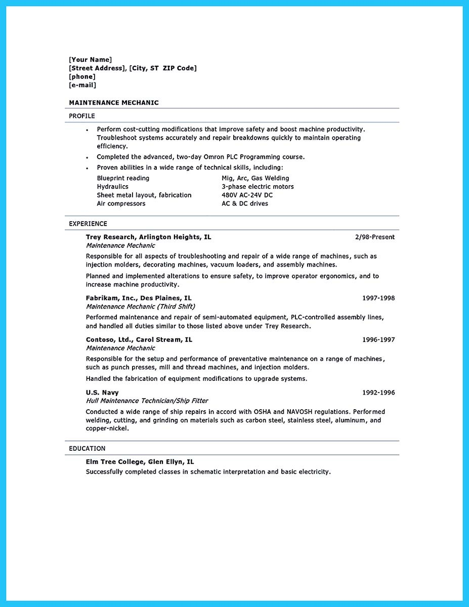 Auto Technician Resume Example