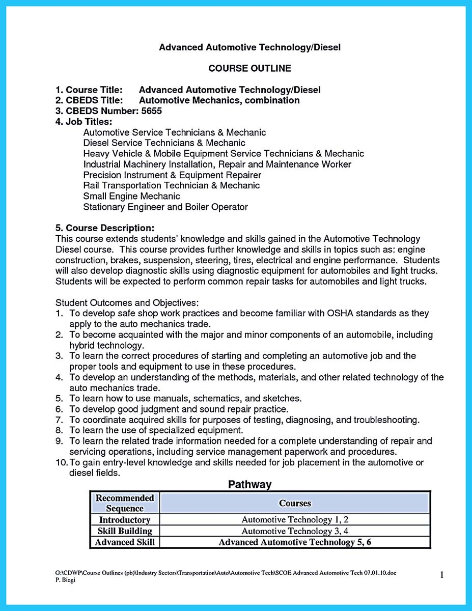 auto technician resume examples - Automotive Technician Resume