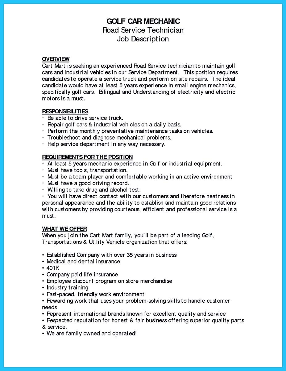 auto mechanic resume duties - Yeni.mescale.co