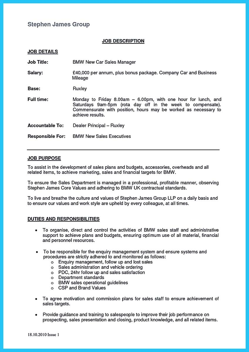 automotive car auto sales manager resume example