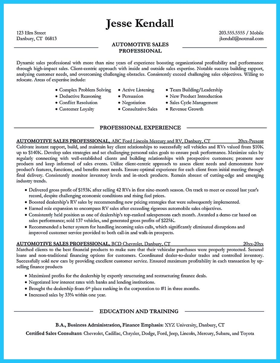 automotive resume format