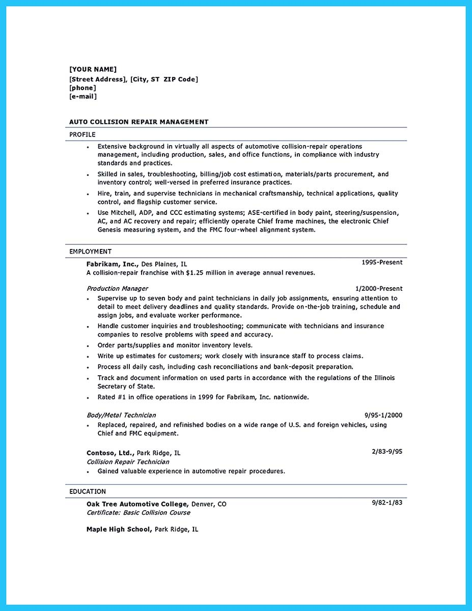 auto collision repair resume sles