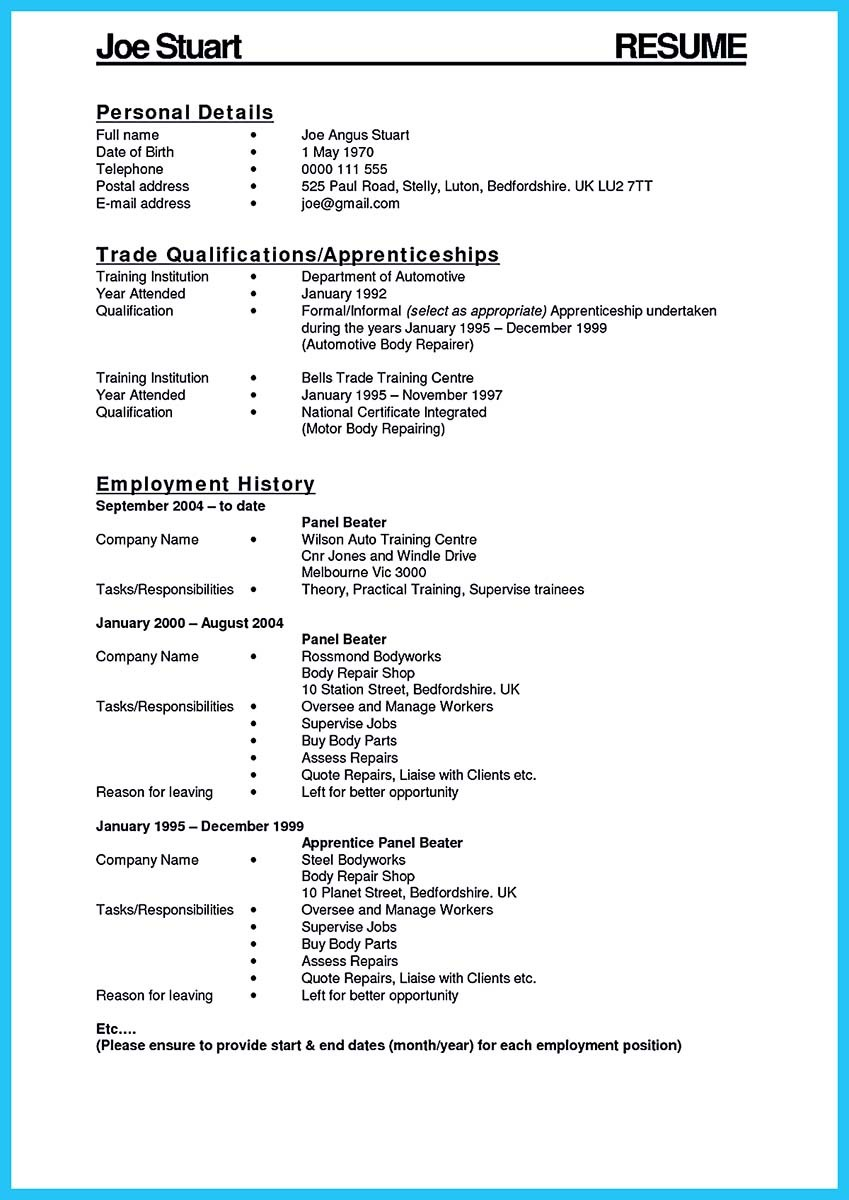 automotive technician description resume