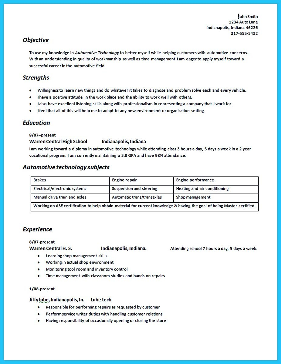 Sample Resume For A Diesel Technician
