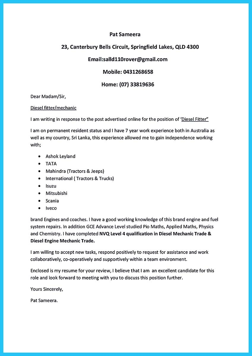 Cover letter for auto mechanic apprenticeship - Coursework ...