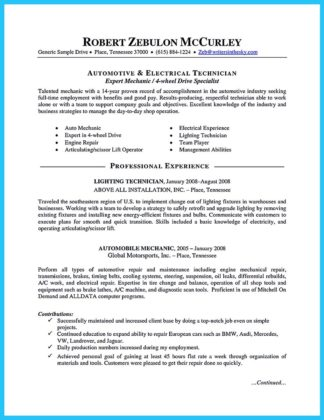 writing your great automotive technician resume how to