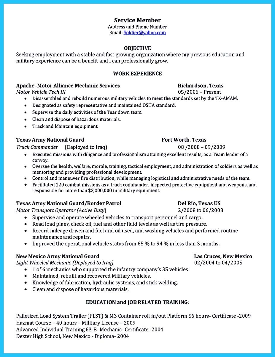 automotive technician resume objective examples