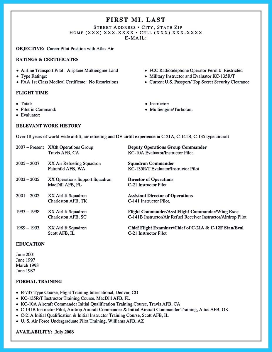 aviation resume cover letter examples