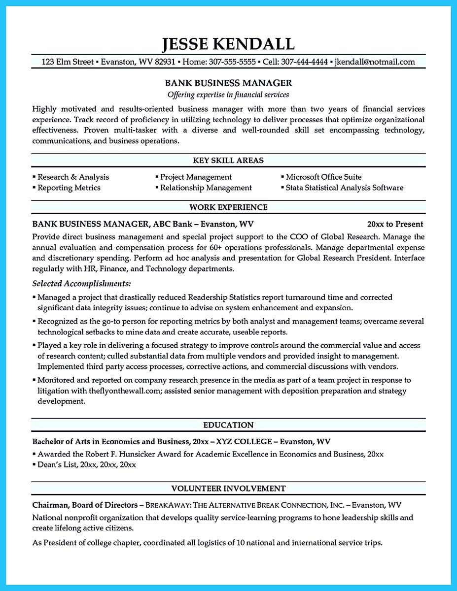 bank manager resume cover letter