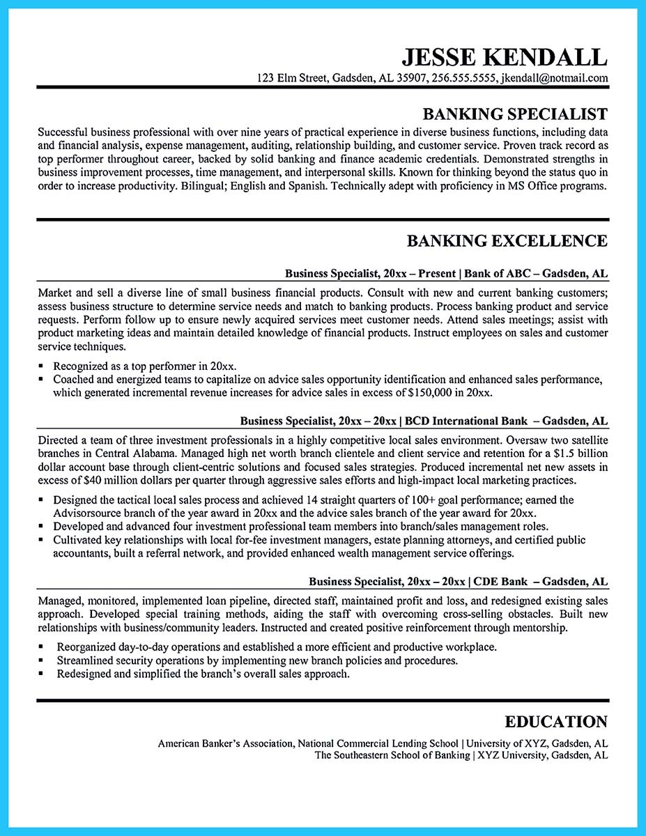 bank manager resume description