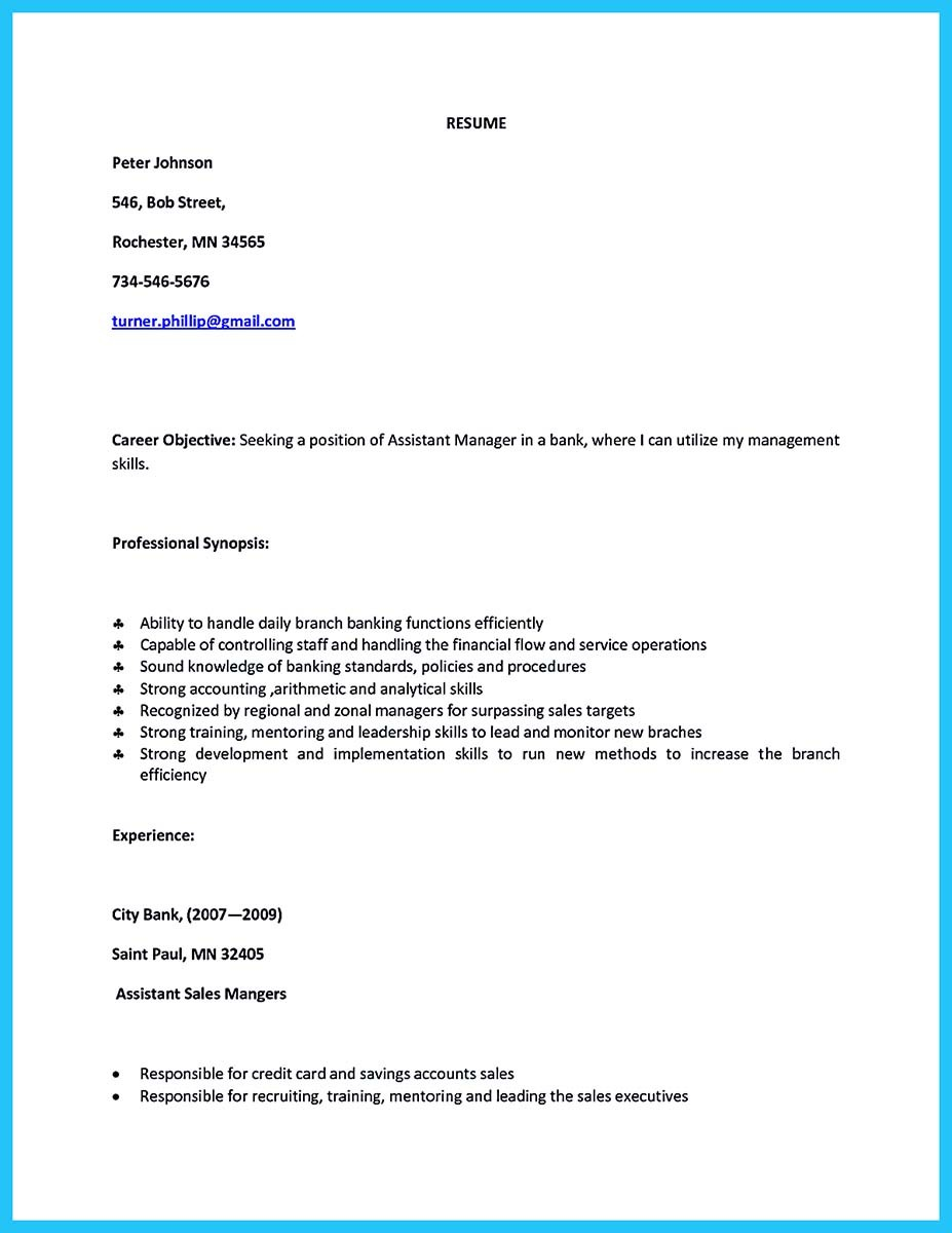 bank manager resume pdf