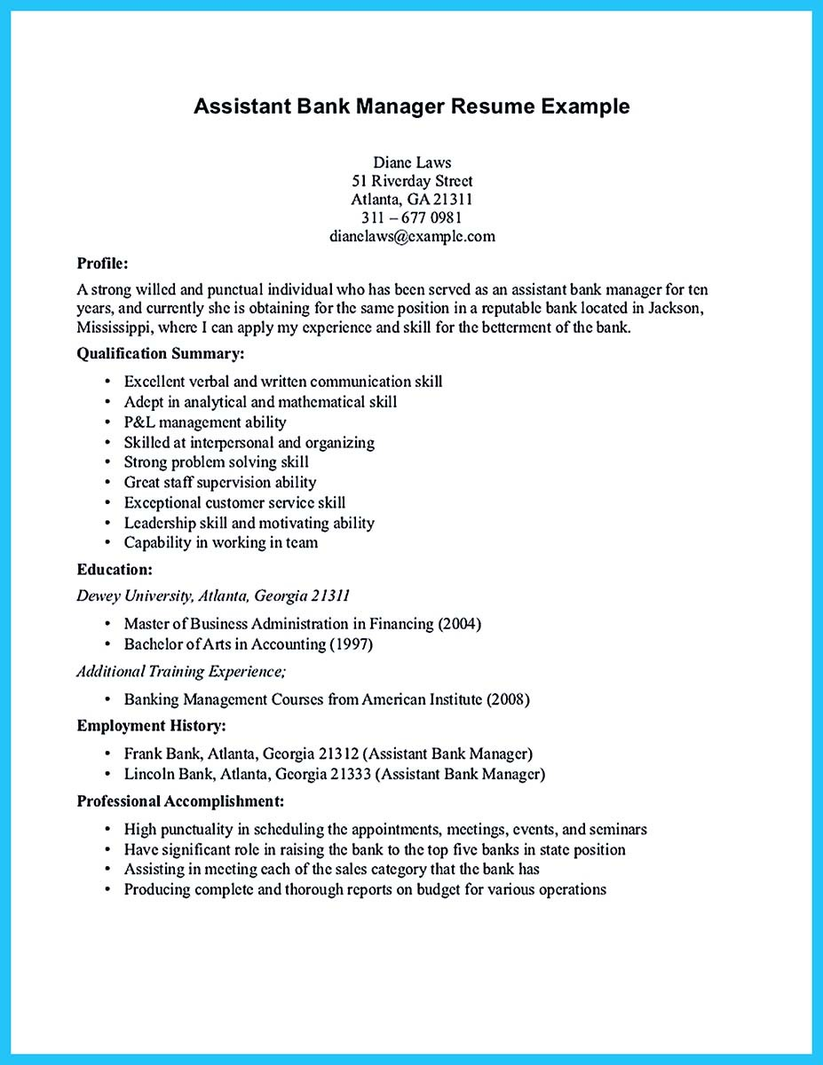 bank manager resume sample
