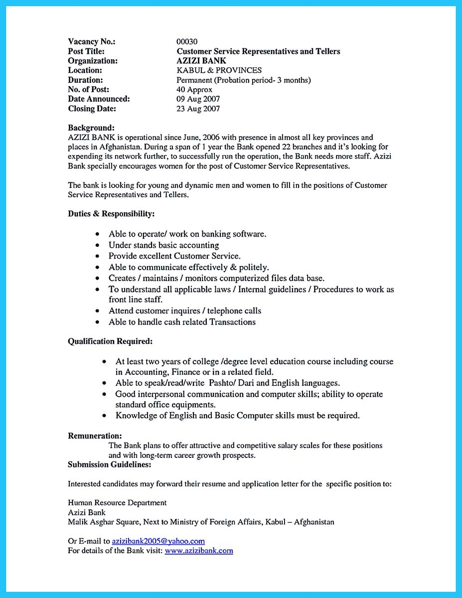 First Time Bank Teller Resume Example