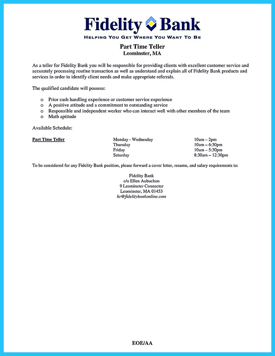 bank teller resume and cover letter