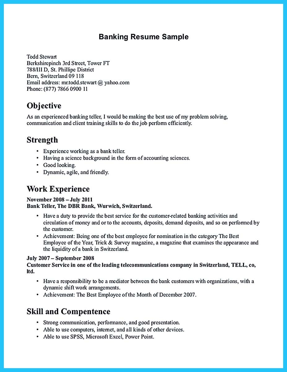 Sample Resume For Bank