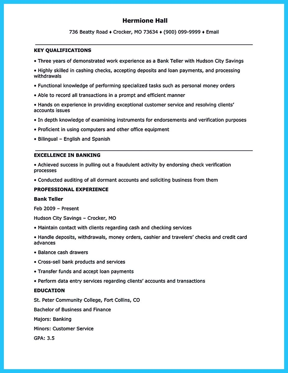 bank teller resume download