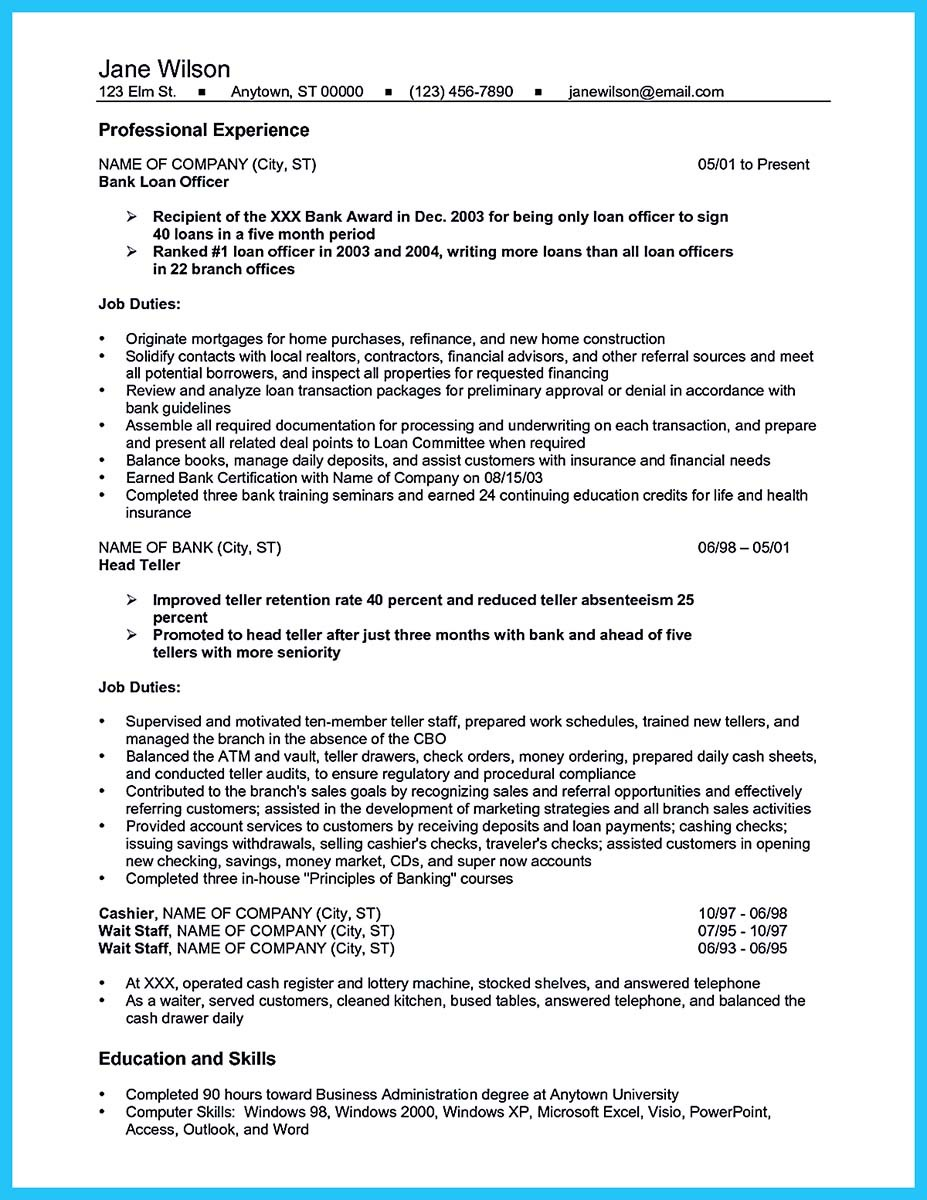 bank teller resume sample objective - Resume Templates For Bank Teller