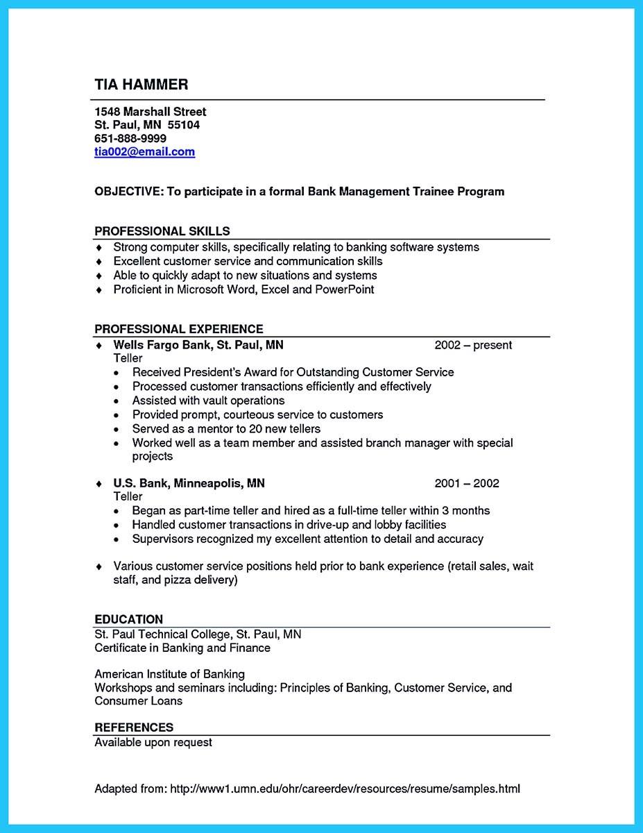 bank teller resume sample with experience