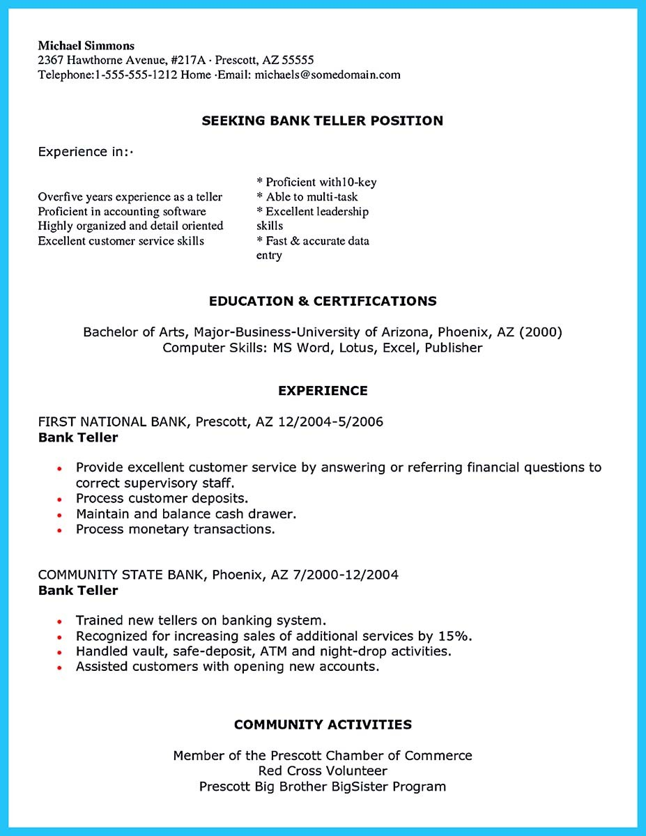 ... Bank Teller Resume Sample ...  Concise Resume Template