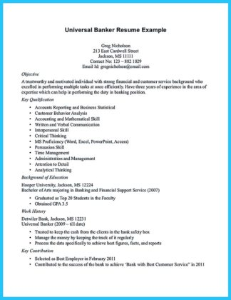 Banker resume example