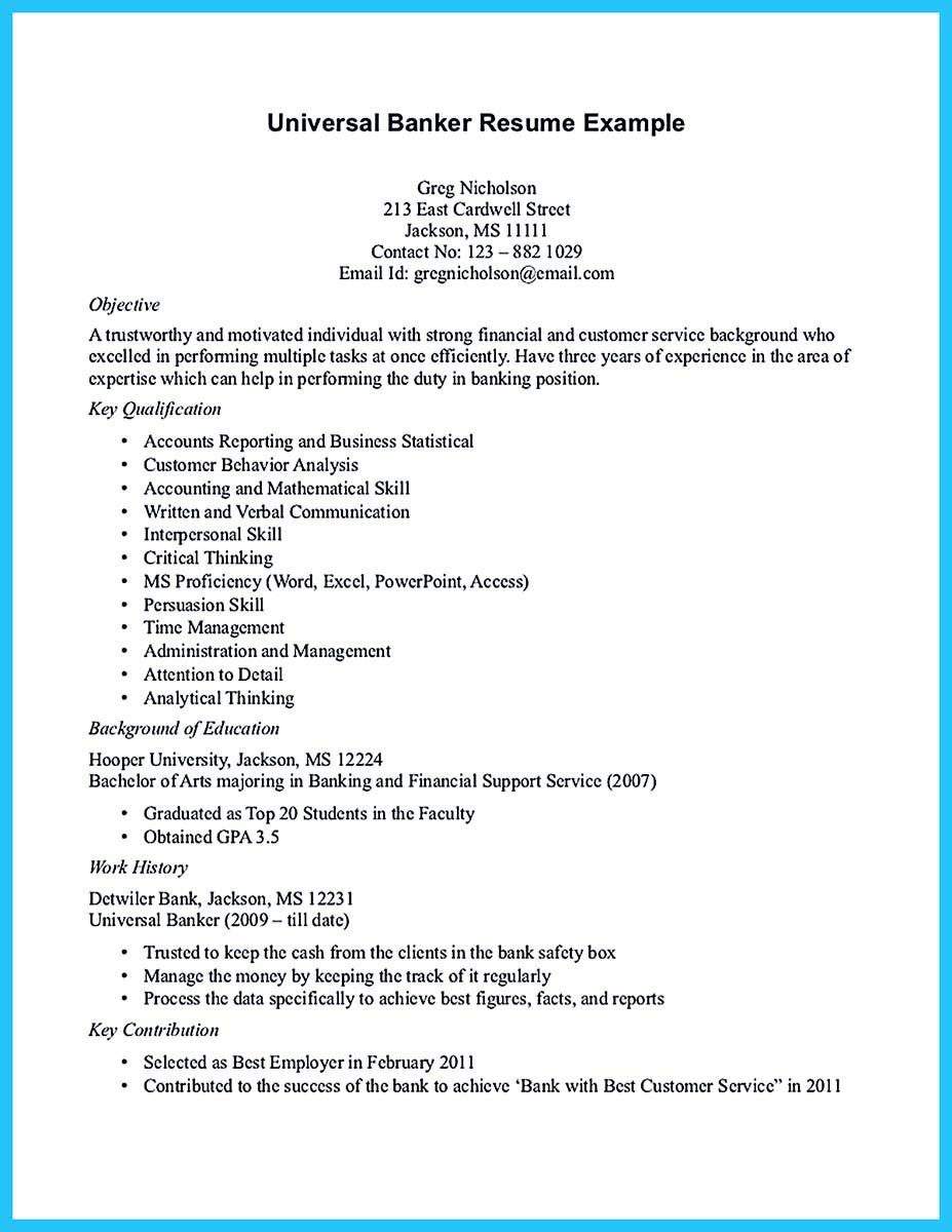 sample resume for a bank teller with no experience - one of recommended banking resume examples to learn