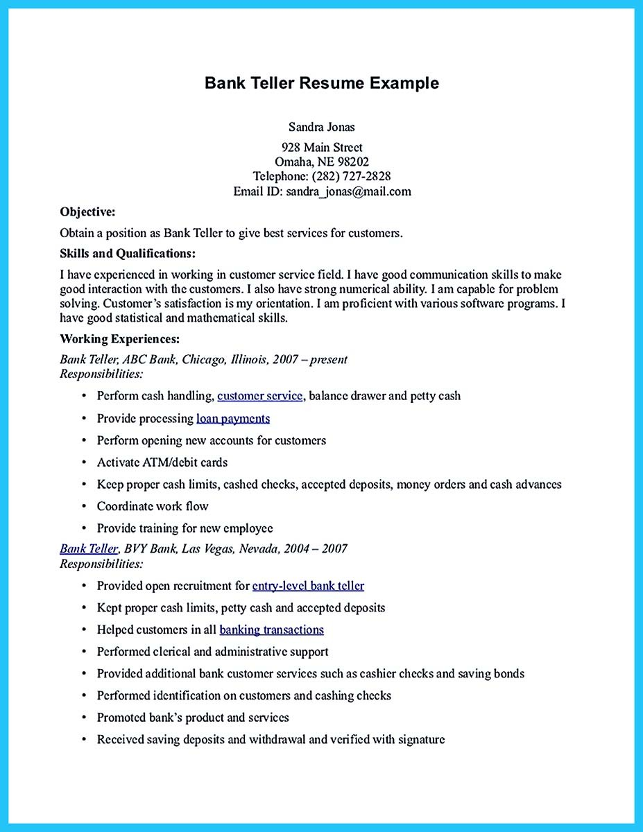 banking resume examples samples and bank teller resume example objectives