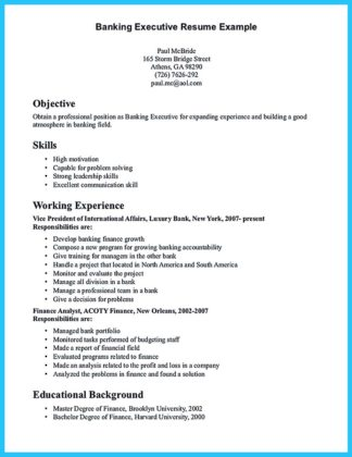 Sample Resume Objective For Banking