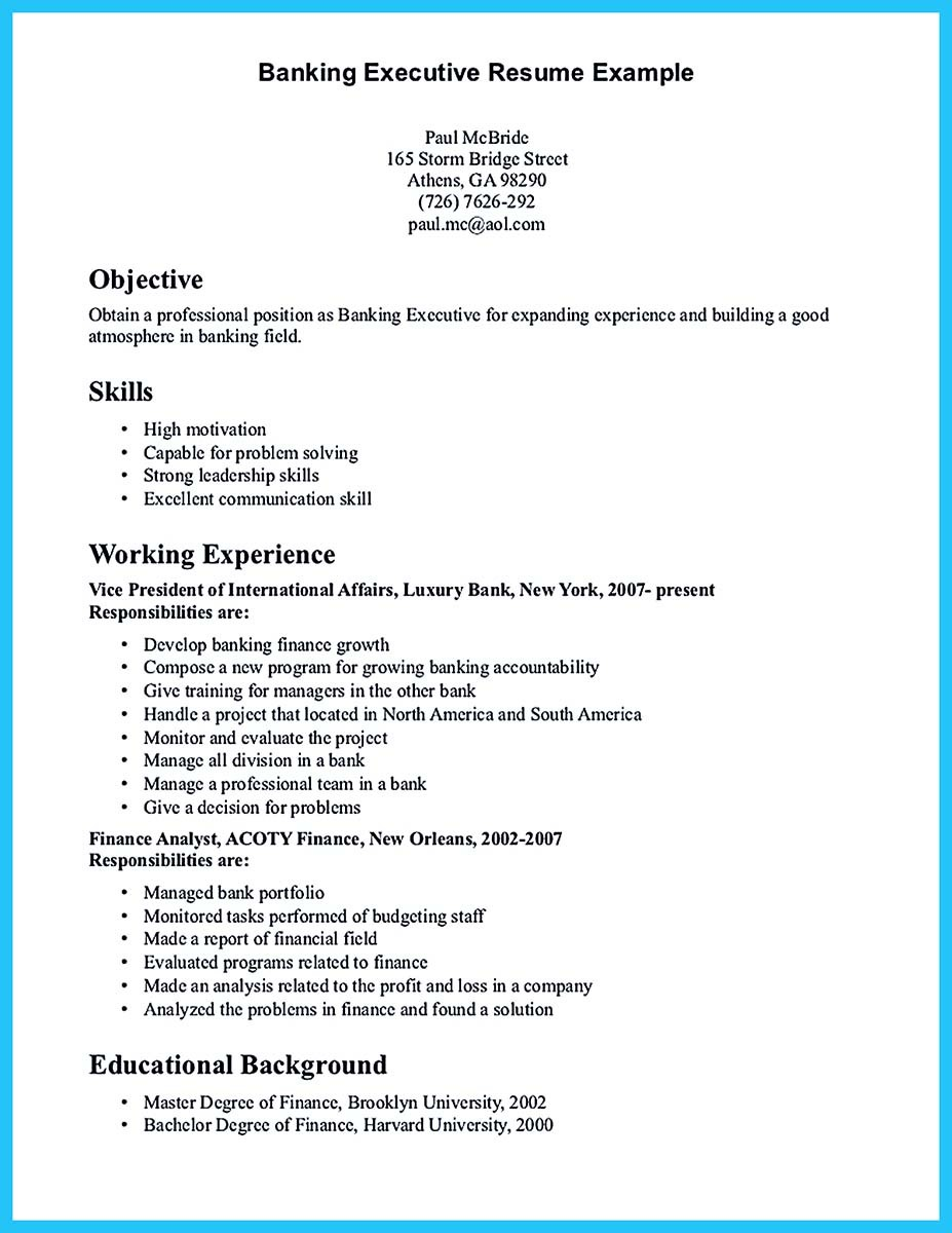 sample of skills and qualifications for a resume - one of recommended banking resume examples to learn