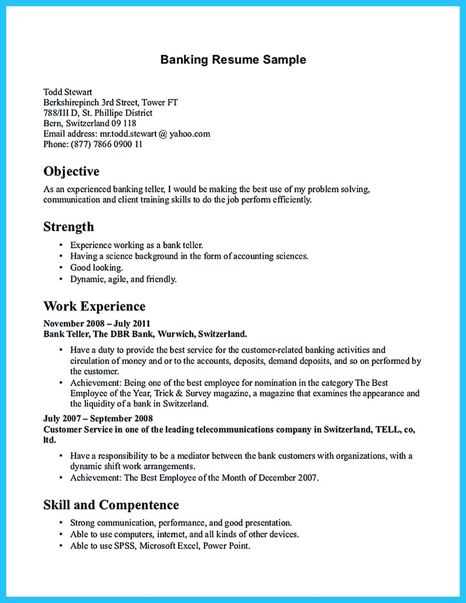 One of recommended banking resume examples to learn for Sample resume to apply for bank jobs