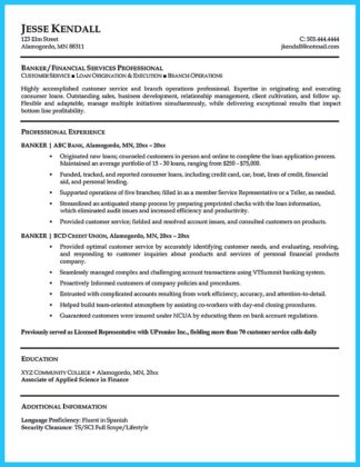 One Of Recommended Banking Resume Examples To Learn | How To Write