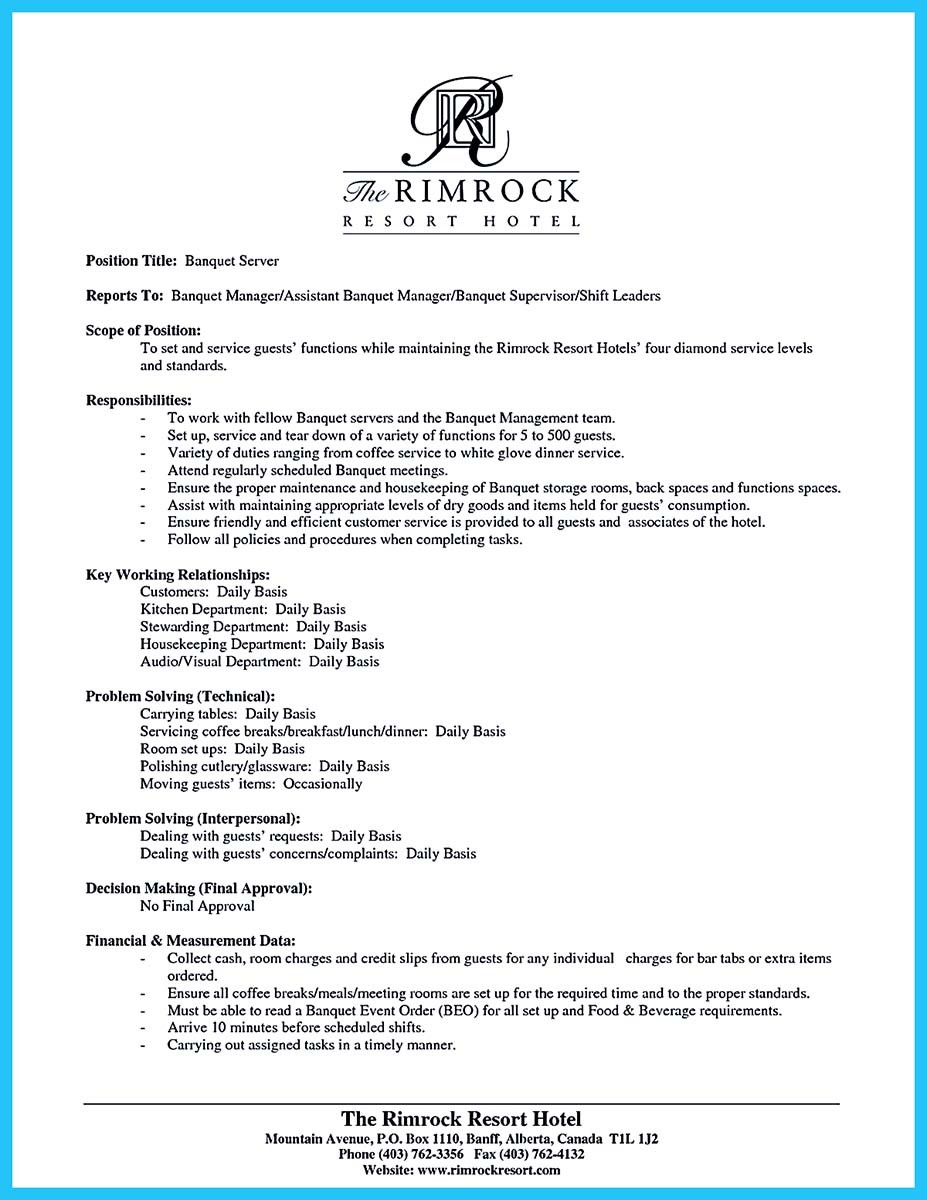 banquet server resume example and country club banquet server resume