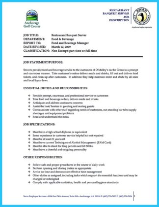 banquet server resume sample and banquet server functional resume