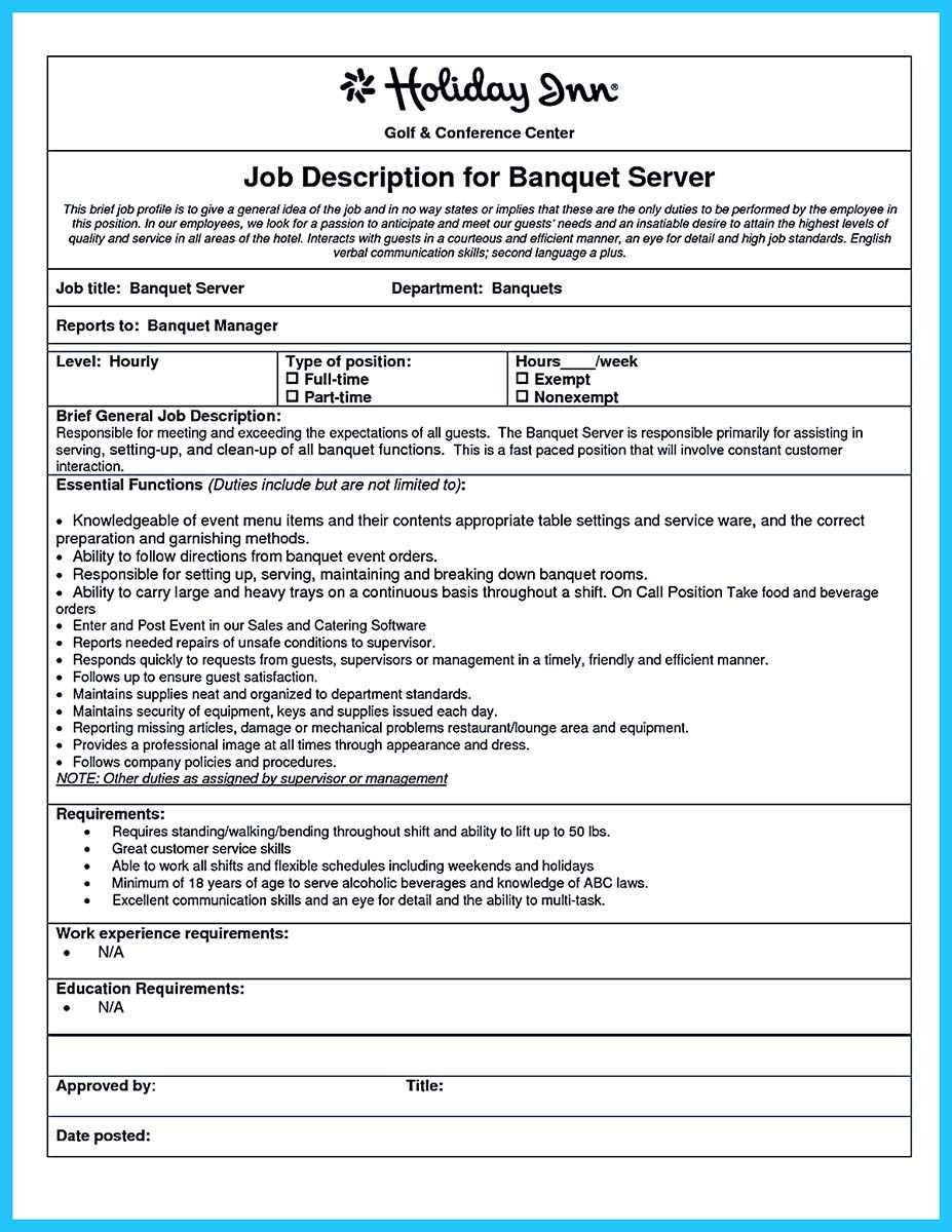 banquet server resume samples and banquet server for resume