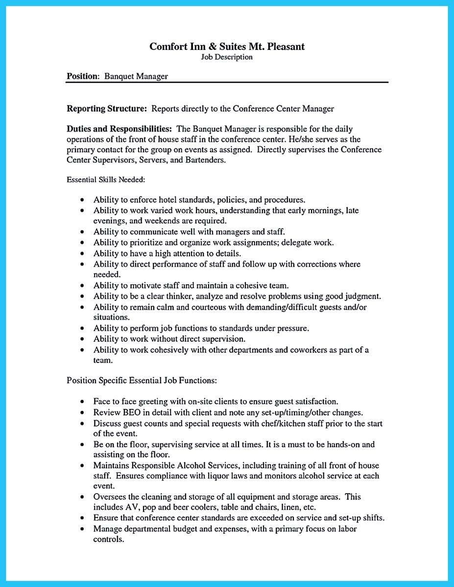 banquet server resume skills and sample of banquet server resume - Banquet Manager Job Description