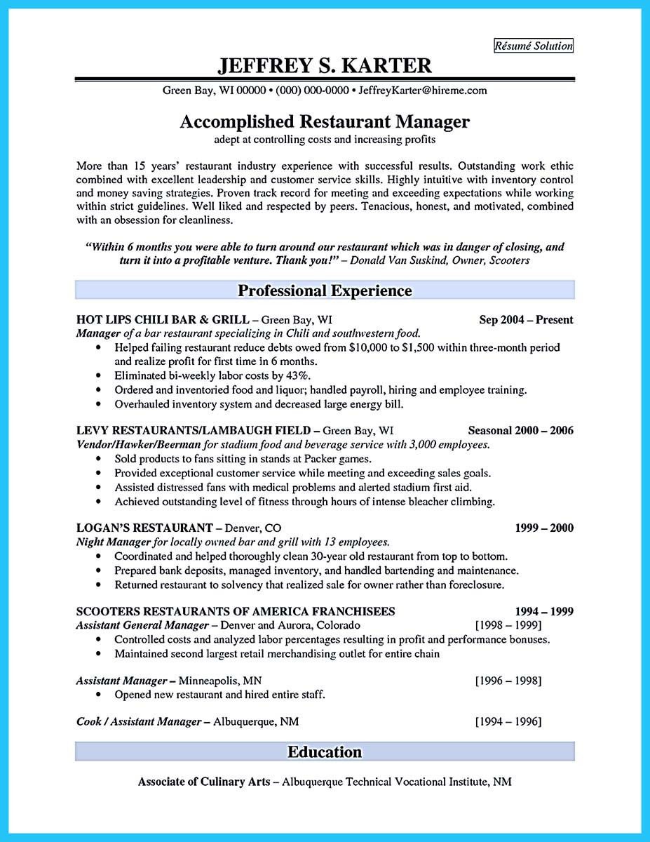 Brilliant bar manager resume tips to grab the bar manager job for Resume templates for restaurant managers