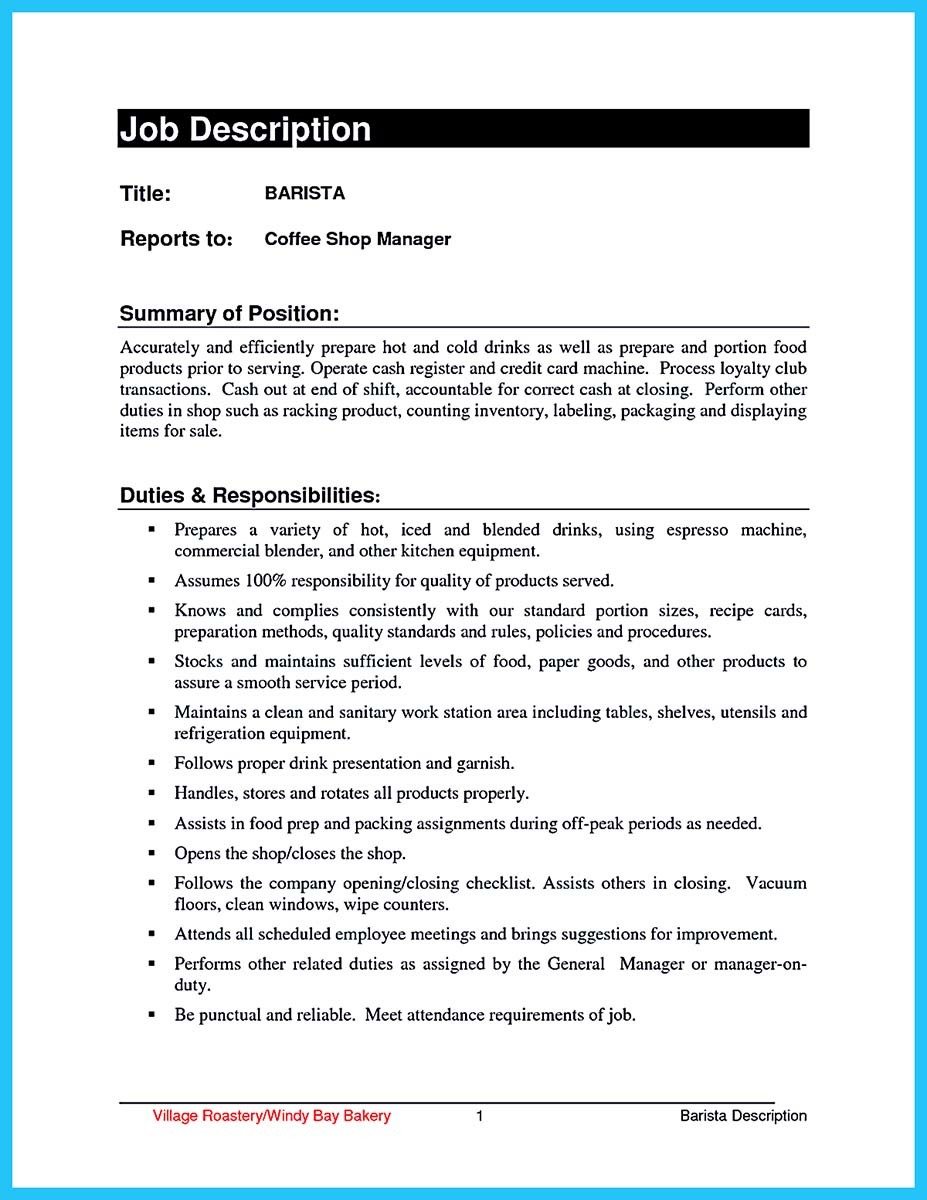 barista resume sample free