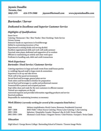 bartender resume no experience template high school student