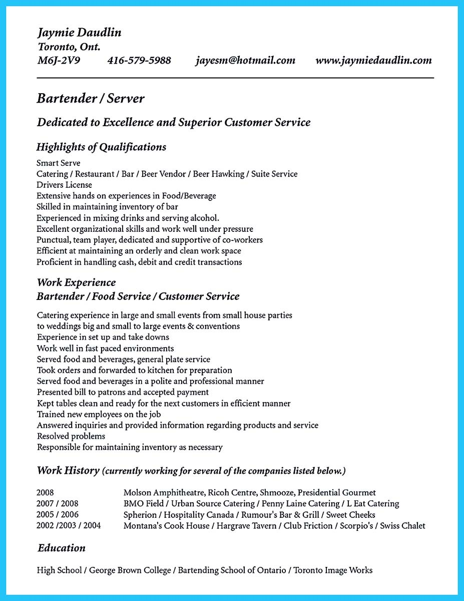 Bartendending Responsibilities Resume Sample And Bartending Resume With No  Experience Example ...