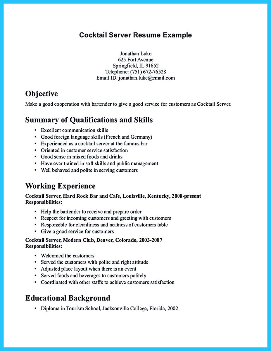 ... Bartendending Resume No Experience Sample And Bartending Resume  Objective Examples ...