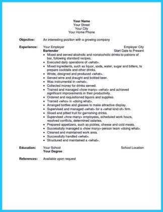 bartender resume examples and bartender resume experience examples