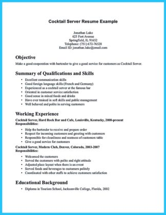 bartender resume samples free and bartender resume template microsoft word