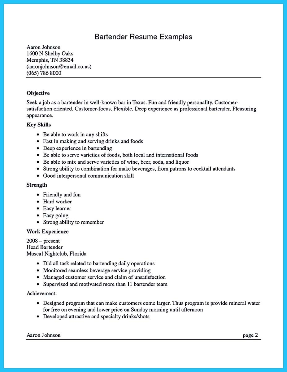 head bartender sample resume - Bartending Resume Examples