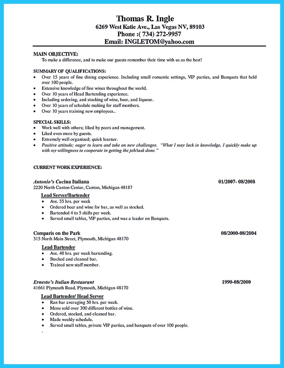 resume skills bartender skills examples - Job Skills For Resume