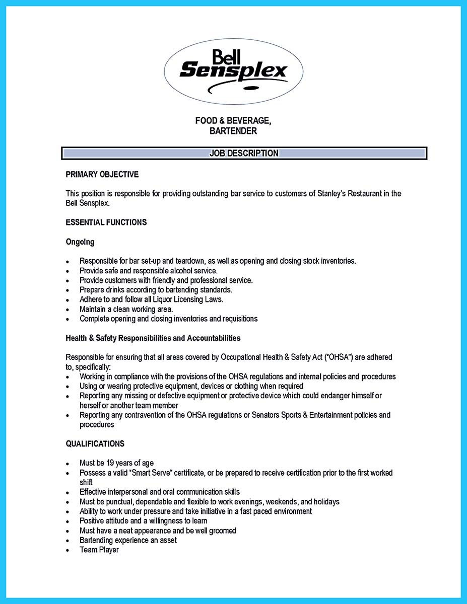 bartenders manager resume and bartenders resume template word